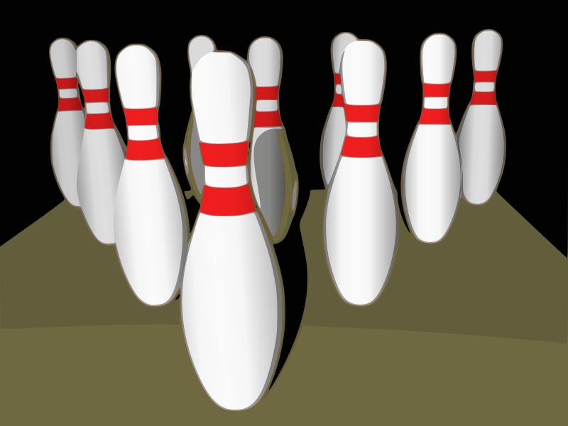 Free Bowling pins, shaded