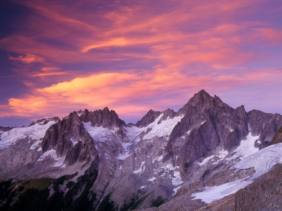 Free Wallpapers: Sunset Clouds Over Washington Mountains   Nature