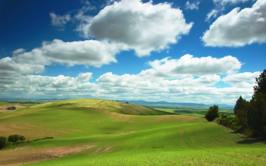 Free Wallpapers: Clouds over Pastures | Nature