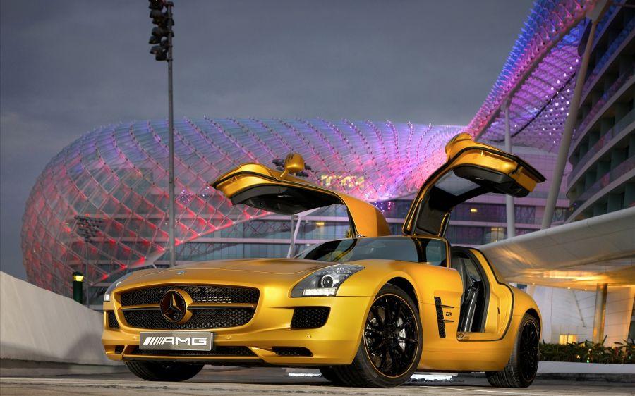 Free Wallpapers: 2010 Mercedes Benz SLS AMG Desert Gold 5 | Transportation