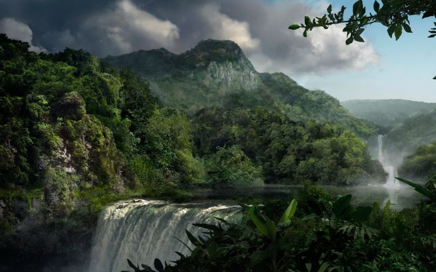 Free Wallpapers: Green Mountain Waterfall | Nature