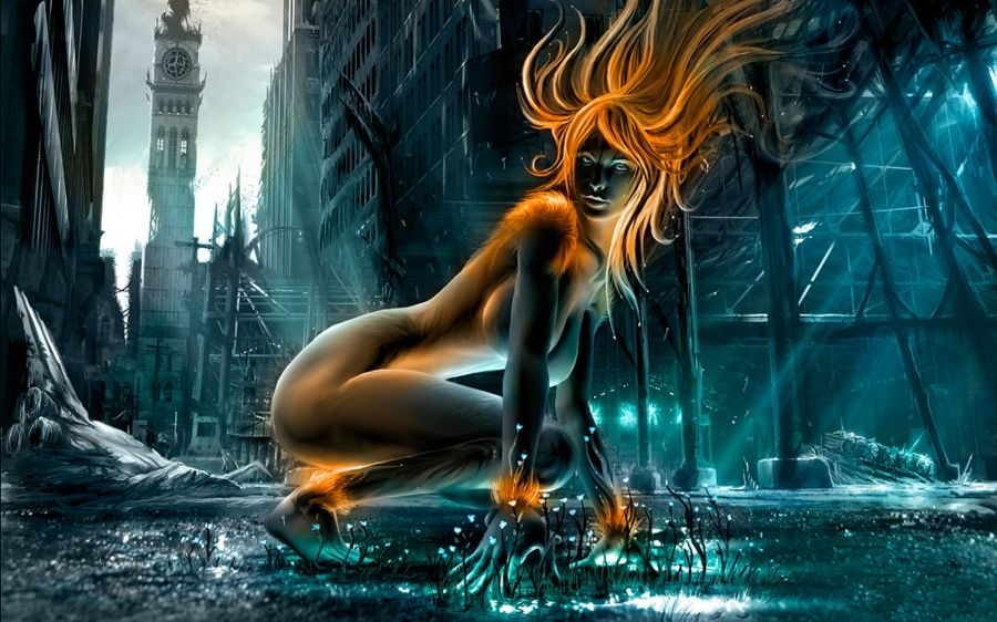 Free Wallpapers: Female Creature in Dark City | Fantasy