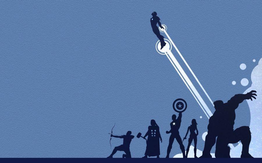 Free Wallpapers: Green Arrow Iron Man Thor Captain America Silhouette Textures Bla | Digital Art