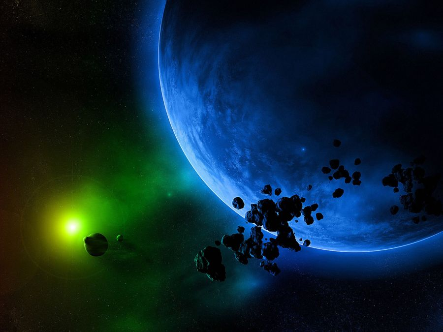 Free Wallpapers: Asteroids and a Blue Planet | Space