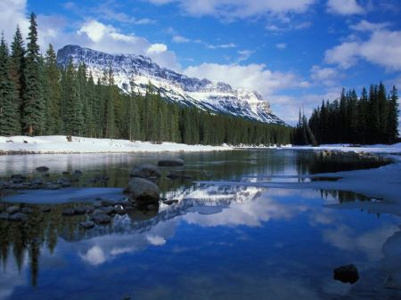 Free Bow River in Winter Castle Mountain Canada