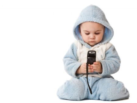 Free Cute Baby Using Cell Phone
