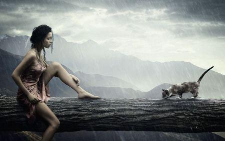 Free Beautiful Girl & Cat