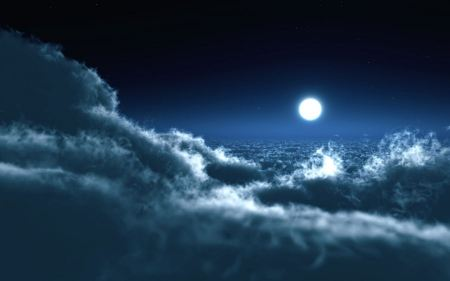 Free Moon Over Clouds