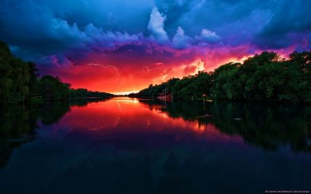 Free Red Sky Reflecting on Lake