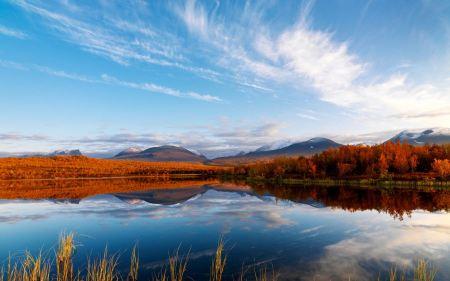 Free Orange Autumn and Lake