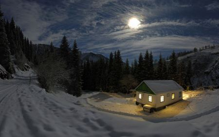 Free Moon Shining over Winter Cottage