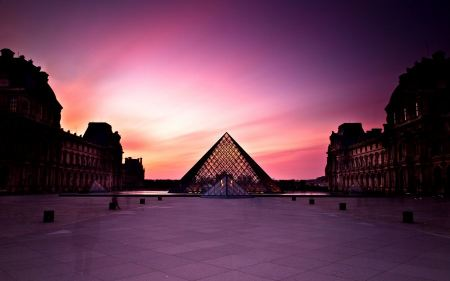 Free Louvre Museum at Sunset
