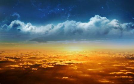 Free Blue and Orange Sky Wallpaper