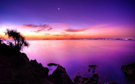 Free Sunset Moon Wallpaper