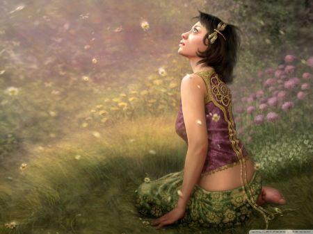 Free Girl In Nature Wallpaper