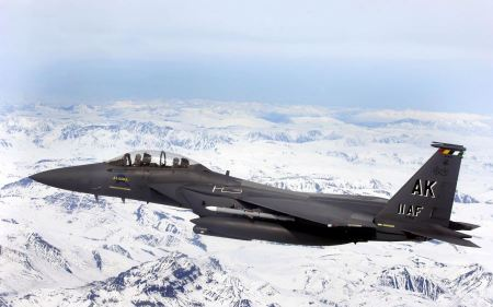 Free F 15e Strike Eagle Flys Over Glacial Fields Wide