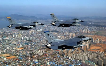 Free F 16 Fighting Falcons Over City Wide