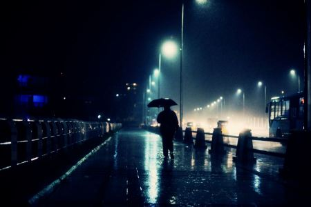 Free Man In Dark Night Rain