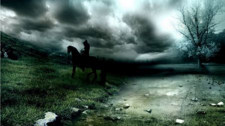 Free Man Riding Horse Dark Fantasy Wallpaper