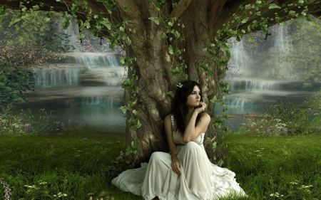 Free Fantasy Girl in Nature Wallpaper