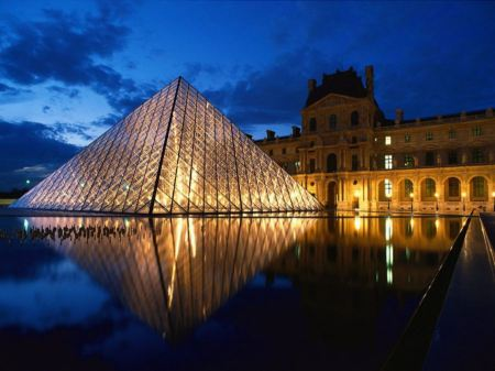 Free Pyramid At Louvre Museum Paris France
