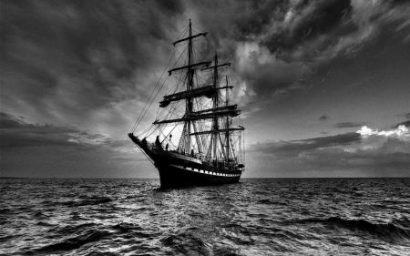 Free Sailing Ship In Dark Wide