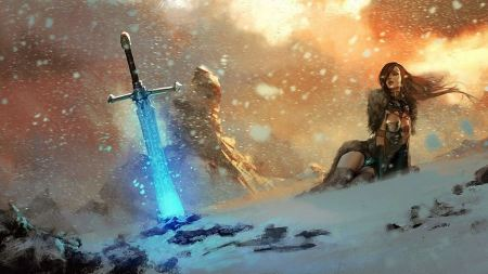 Free Woman in Snow Battle