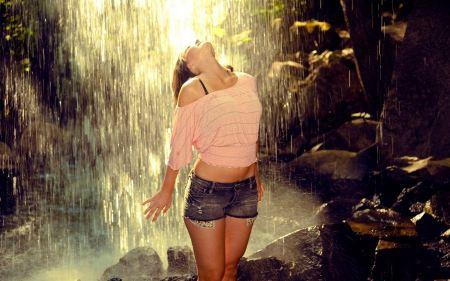 Free Woman in Waterfall Wallpaper