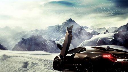 Free Mountains Winter Snow Artwork Supercars Lamborghini Reventon Blac