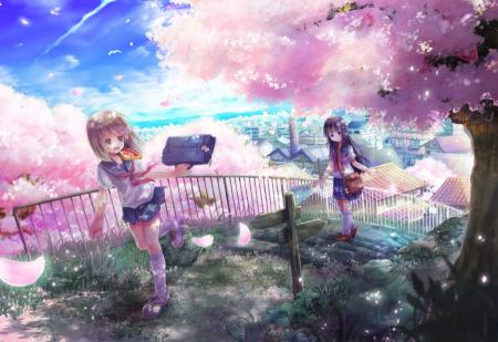 Free Cherry Blossoms Flowers and Anime School Girls