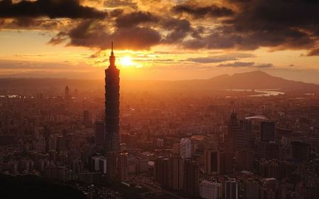 Free Sunset Clouds Cityscapes Buildings Skyscrapers Taiwan Taipei 101