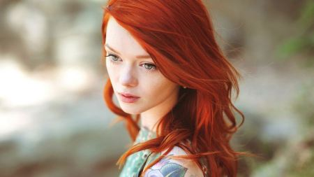 Free Girl with Bright Red Hair