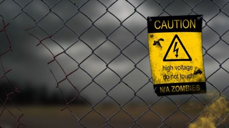Free Zombies Warning Chain Link Fence Apocalyptic High Voltage