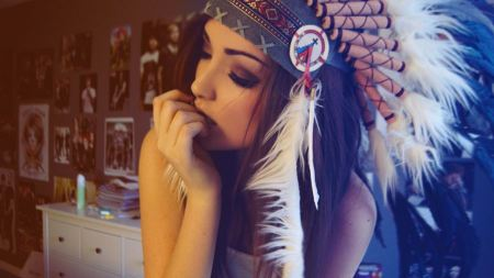 Free Girl Wearing Indian Feather hat