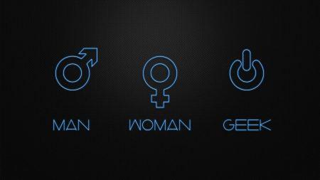 Free Women Men Geek humor geek Neon digital art black background