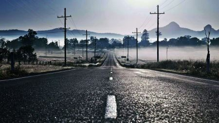 Free Nature Empty Lonely Foggy Roads Wires Electric Lines