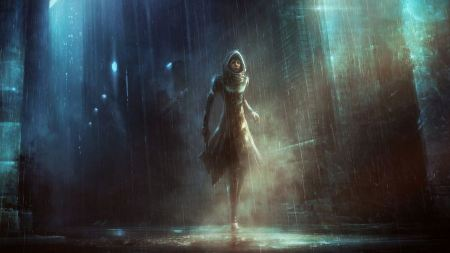 Free Girl in Dark Rainy Alley