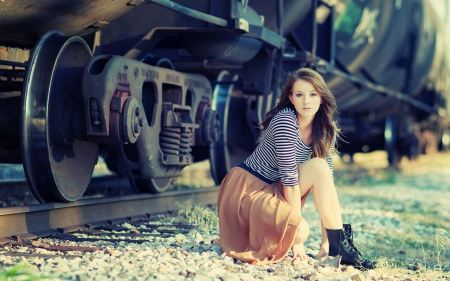 Free Girl at Train Tracks