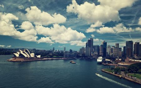 Free Sydney Opera House Cloudy Sky Cityscape