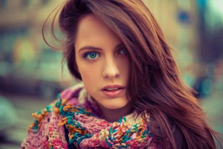Free Brunette Wearing Colorful Scarf