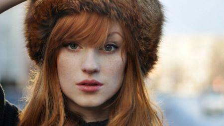 Free Girl Wearing Russian Winter Hat