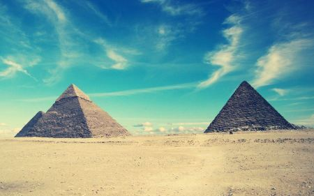 Free Egypt Pyramids Blue Sky Minimal Photography