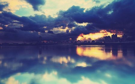 Free Cityscapes Buildings Sunset Clouds Lakes Reflections Horizon