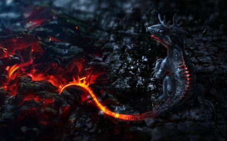 Free Mythical Creatures Artwork Small Dragons Tails Fire Lava Smoke Ma
