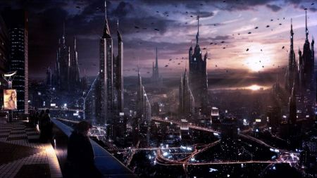 Free Futuristic City Fantasy Art Skyscrapers Skylines At Night