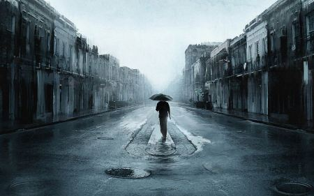 Free Sad Man With Umbrella Walking In A Lonely Street Digital Art Artw