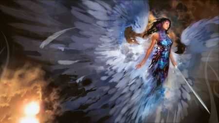 Free Warrior Angel in Colorful Dress