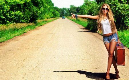Free Blonde Girl Hitchhiking Wallpaper