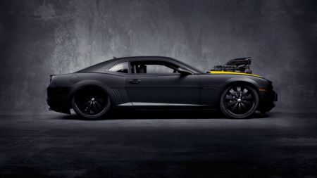 Free Chevrolet Camaro Ss Black Concept Car With Yellow Stripe