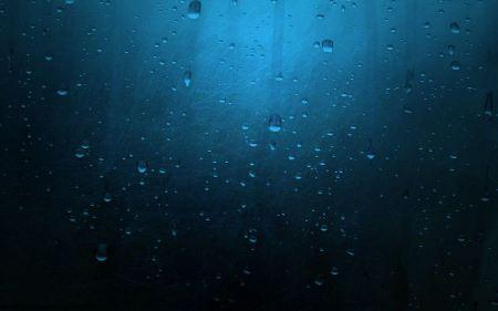 Free Minimalistic Rain Water Drops Rain On A Blue Glass